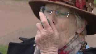 Mary Tucker uses her inhaler in Hunstanton today.