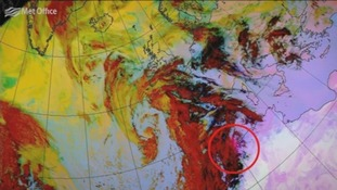 Met Office pictures show dust particles being swept from the Sahara.