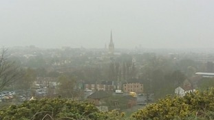 The scene in Norwich this morning as pollution levels remain high.