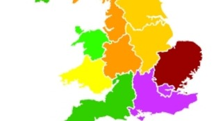Purple areas are experiencing 'very high' pollution levels, green areas have 'low' levels.