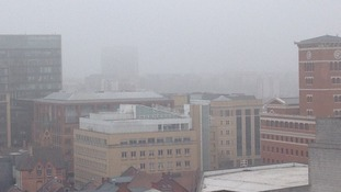 Smog covers the sky above Central Birmingham