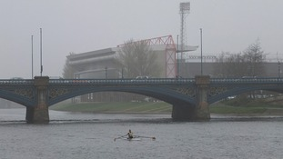 The River Trent in Nottingham surrounded by smog as record levels of air pollution hit parts of the UK.