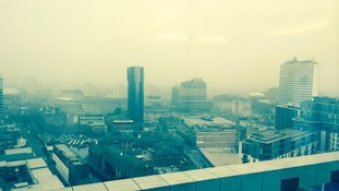 Poor visibility across Birmingham due to high air pollution