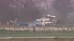 Wreckage of the helicopter at Gillingham, Norfolk. Credit: ITV News Anglia