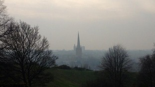 Norwich Cathedral was smothered by smog today.