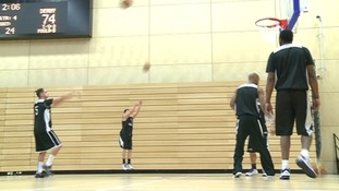 Newcastle Eagles in training for the Championship decider.