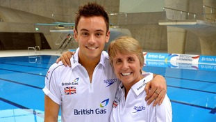 Tom Daley with his coach Jane Figueirdo at the Aquatics Centre