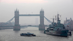 Smog blanketed the London skies on Thursday.