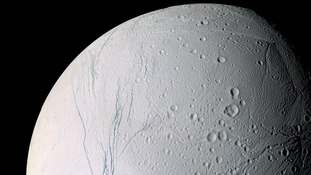 NASA photo of Saturn's moon Enceladus.