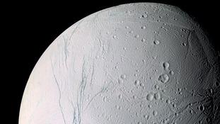 NASA photo of Saturn's moon Enceladus.