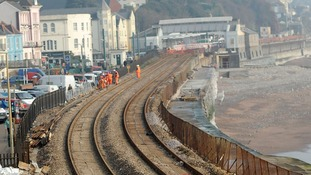 Now: The Dawlish line on 12th March.