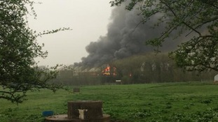The fire at the Leyland Industrial Estate.