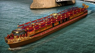 An artist's impression of the Royal Barge.