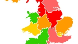 Red and pink represent areas experiencing 'high' pollution levels.
