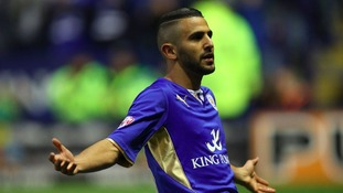 Leicester City's Riyad Mahrez celebrates scoring the first goal after just 10 minutes