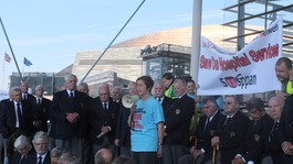 Llanelli MP Nia Griffith addressing the Prince Philip Hospital demonstration