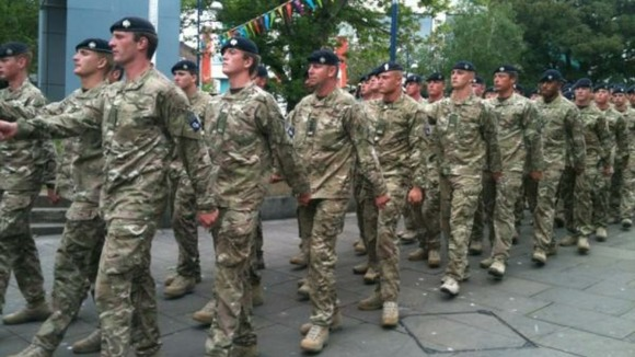 1st The Queen&#x27;s Dragoon Guards marching through Swansea