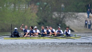 Oxford's crew celebrate after their victory.
