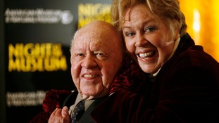 Mickey Rooney and Jan Rooney at the film premiere of Night at the Museum in New York.