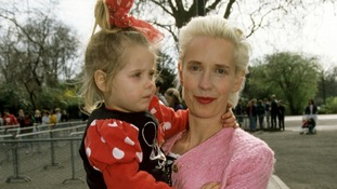 With her mother Paula Yates in 1993.