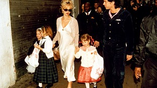 Peaches, pictured on the far left, with her mother and Michael Hutchence in 1996.