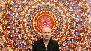 Damien Hirst with his work 'I Am Become Death, Shatterer of Worlds 2006