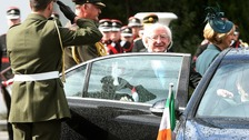 President Higgins leaving his presidential residence in Dublin yesterday