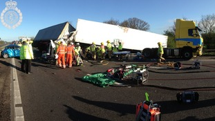 3 HGVs and 1 car were involved in the pile-up