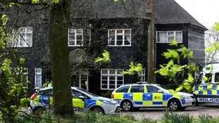 Police officers at the home of Peaches Geldof in Wrotham, Kent, today.