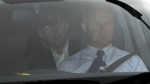 Andy Coulson arrives at Govan Police Station for questioning.