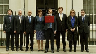 Sajid Javid, third from the left, with the Treasury team on Budget day.