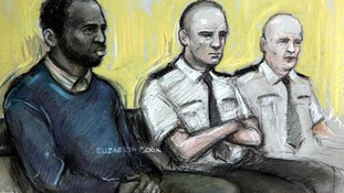 A court sketch drawn of Nicky Jacobs who was found not guilty of all charges.