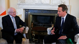 Irish President Michael D Higgins speaks with Prime Minister David Cameron in Number 10.