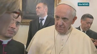 Pope Francis spoke to ITV News presenter Julie Etchingham at a Vatican conference.