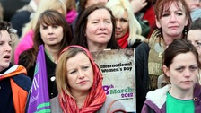 Women at the International Women&#x27;s Day rally at Belfast city hall
