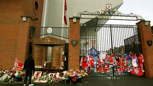 Tributes left at Anfield for the 96 that died in the Hillsborough disaster.