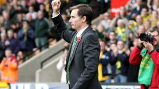 Glenn Roeder is introduced to the Norwich City fans against Ipswich Town.