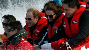Prince William and the Duchess of Cambridge enjoy a jet boat ride on the Shotover River in Queenstown.