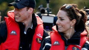 The Duke and Duchess of Cambridge wearing buoyancy vests before taking a jet boat ride.