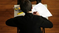 A pupil taking an exam