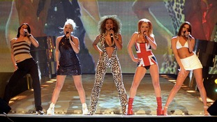The Spice Girls Mel C, Emma, Mel B, Geri and Victoria perform at the Brit Awards in February 1997.