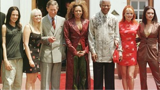 The Spice Girls meet Prince Charles and then-South African President Nelson Mandela in Pretoria, South Africa in November 1997.