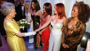 The Spice Girls meet the Queen at The Royal Variety Performance in December 1997.