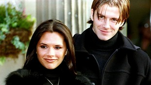 The then-Victoria Adams and David Beckham announce their engagement in January 1998.