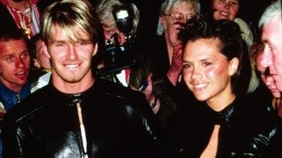 David and Victoria Beckham wear 'those' matching leather outfits at a Tommy Hilfiger party in February 1998.