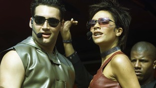 Victoria Beckham and Dane Bowers perform Out of Your Mind with True Steppers in August 2000.