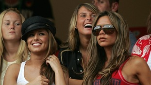 Victoria Beckham and fellow 'Wags' the now-Cheryl Cole and Coleen Rooney watch England at the 2006 World Cup.