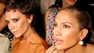 Victoria Beckham sports a crop as she and Jennifer Lopez watch the Marc Jacobs show at New York Fashion Week in September 2008.