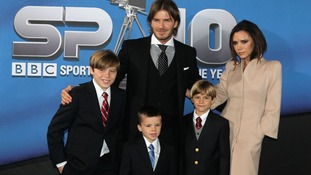 Victoria and David Beckham with their sons Brooklyn, Cruz and Romeo (l-r) in December 2010.