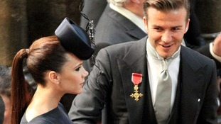Victoria and David Beckham arrive at Westminster Abbey for the royal wedding of Prince William and Kate Middleton.